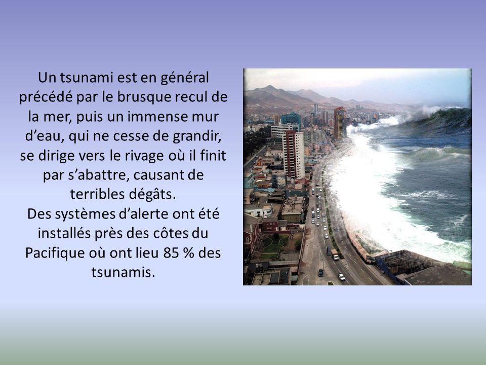 Un tsunami est en général précédé par le brusque recul de la mer, puis un immense mur d'eau, qui ne cesse de grandir, se dirige vers le rivage où il f