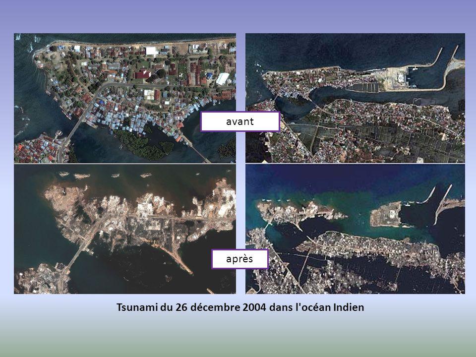 avant après Tsunami du 26 décembre 2004 dans l'océan Indien
