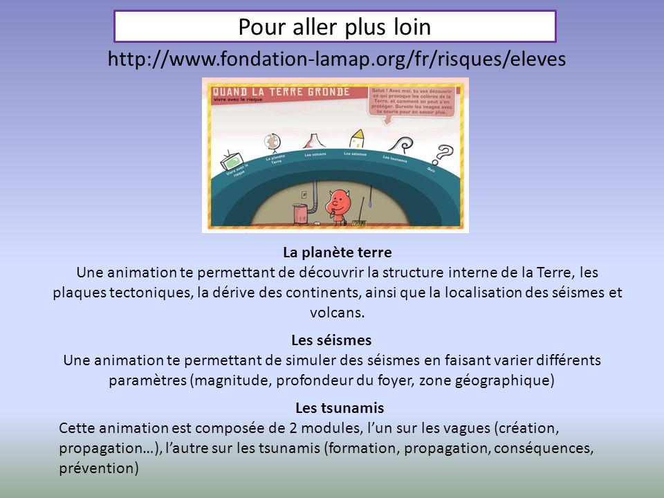 Pour aller plus loin La planète terre Une animation te permettant de découvrir la structure interne de la Terre, les plaques tectoniques, la dérive de