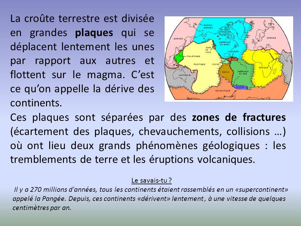 La croûte terrestre est divisée en grandes plaques qui se déplacent lentement les unes par rapport aux autres et flottent sur le magma. C'est ce qu'on
