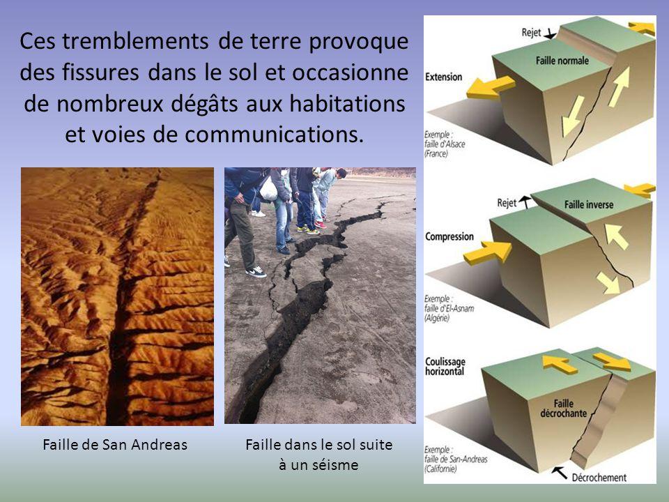 Ces tremblements de terre provoque des fissures dans le sol et occasionne de nombreux dégâts aux habitations et voies de communications. Faille de San