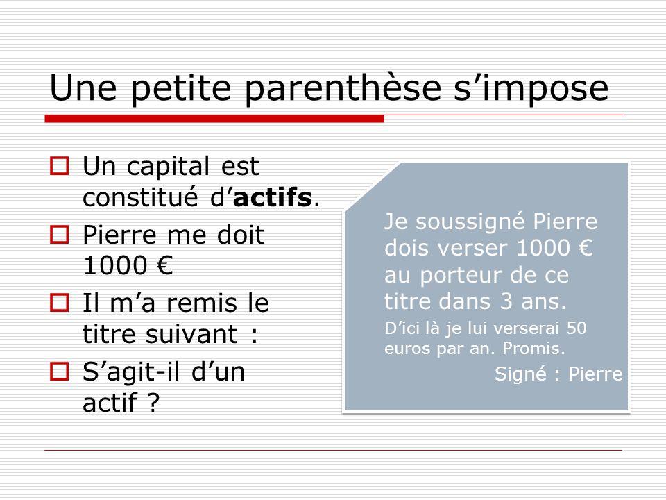 Une petite parenthèse s'impose  Un capital est constitué d'actifs.  Pierre me doit 1000 €  Il m'a remis le titre suivant :  S'agit-il d'un actif ?