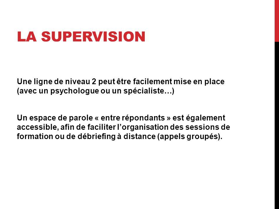LA SUPERVISION Une ligne de niveau 2 peut être facilement mise en place (avec un psychologue ou un spécialiste…) Un espace de parole « entre répondants » est également accessible, afin de faciliter l'organisation des sessions de formation ou de débriefing à distance (appels groupés).