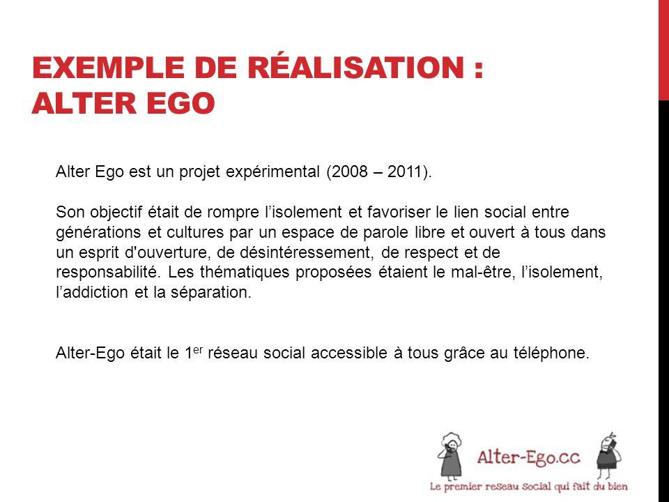 EXEMPLE DE RÉALISATION : ALTER EGO Alter Ego est un projet expérimental (2008 – 2011).
