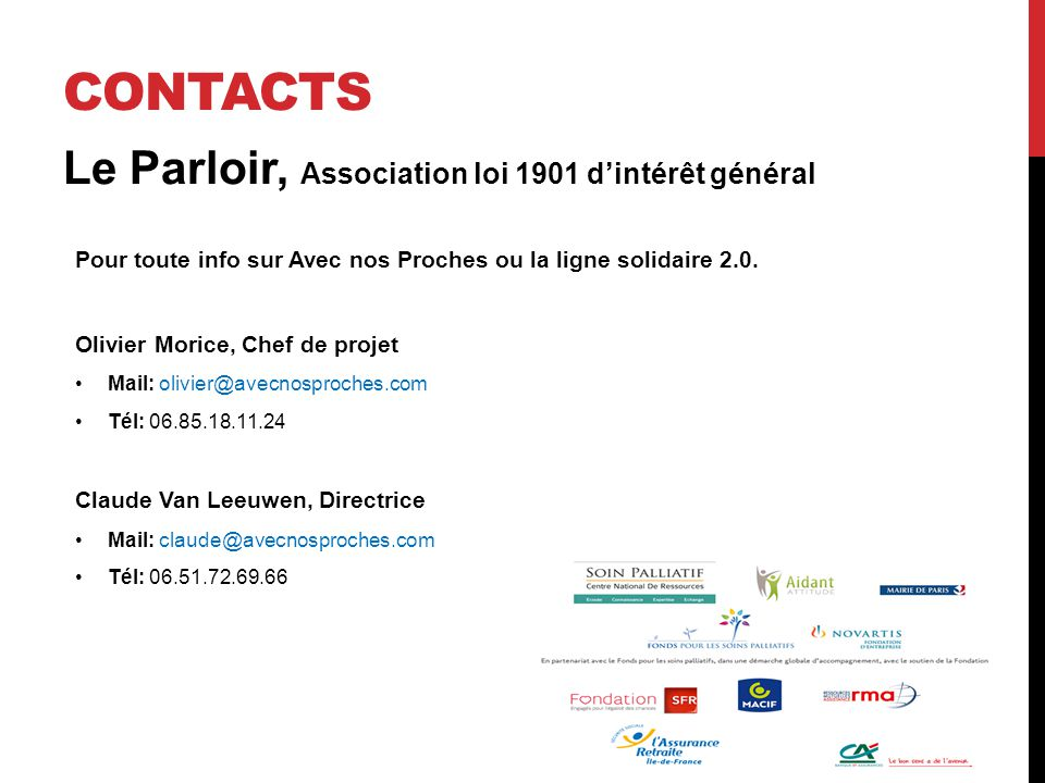 Le Parloir, Association loi 1901 d'intérêt général Pour toute info sur Avec nos Proches ou la ligne solidaire 2.0.
