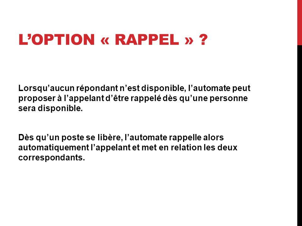 L'OPTION « RAPPEL » .