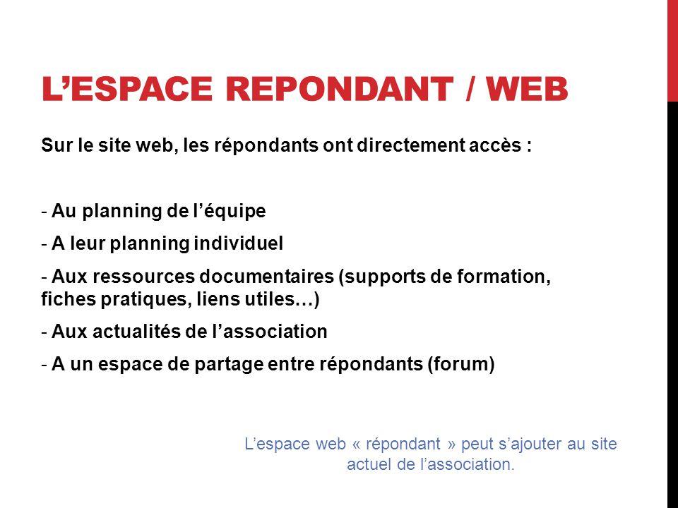 L'ESPACE REPONDANT / WEB Sur le site web, les répondants ont directement accès : - Au planning de l'équipe - A leur planning individuel - Aux ressources documentaires (supports de formation, fiches pratiques, liens utiles…) - Aux actualités de l'association - A un espace de partage entre répondants (forum) L'espace web « répondant » peut s'ajouter au site actuel de l'association.