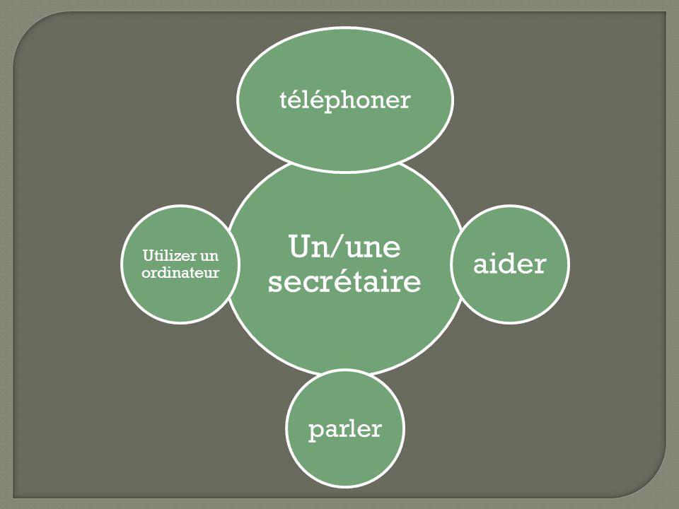 Un/une secrétaire téléphoner aider parler Utilizer un ordinateur