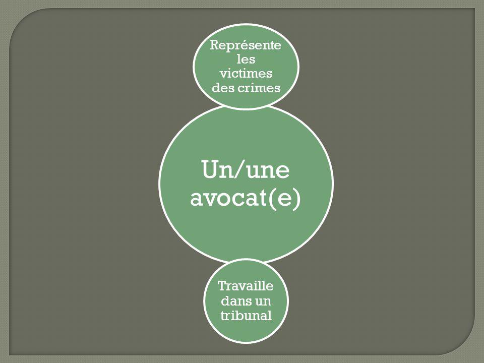 Un/une avocat(e) Représente les victimes des crimes Travaille dans un tribunal
