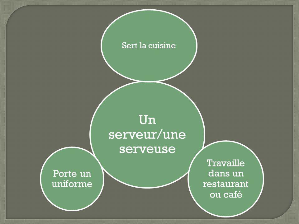 Un serveur/une serveuse Sert la cuisine Travaille dans un restaurant ou café Porte un uniforme
