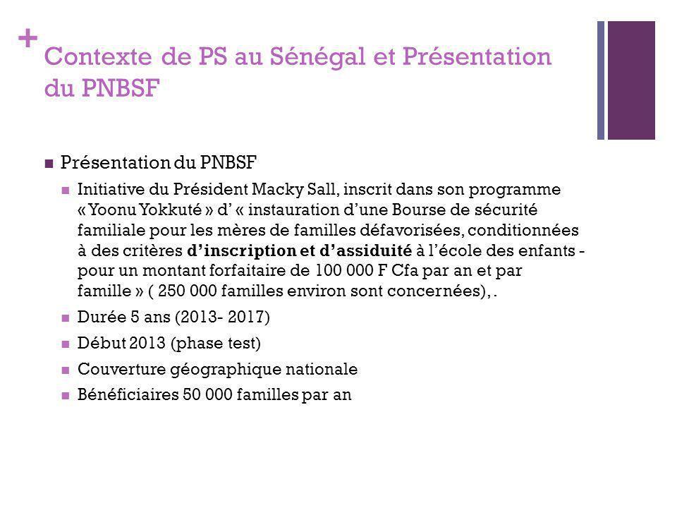 + Objectifs du PNBSF Objectif général Contribuer à la lutte contre la vulnérabilité et l'exclusion sociale des familles à travers une protection sociale intégrée visant à renforcer leurs capacités productives et éducatives.