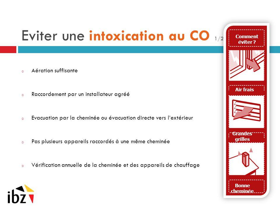 Eviter une intoxication au CO 1/2 o Aération suffisante o Raccordement par un installateur agréé o Evacuation par la cheminée ou évacuation directe ve