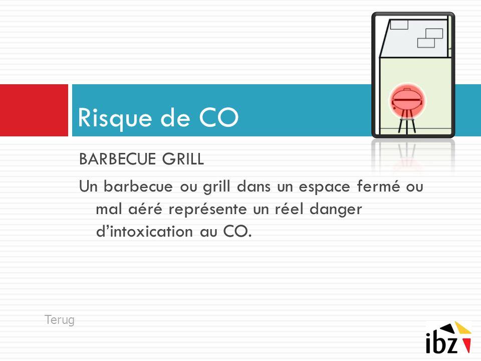 BARBECUE GRILL Un barbecue ou grill dans un espace fermé ou mal aéré représente un réel danger d'intoxication au CO. Risque de CO Terug