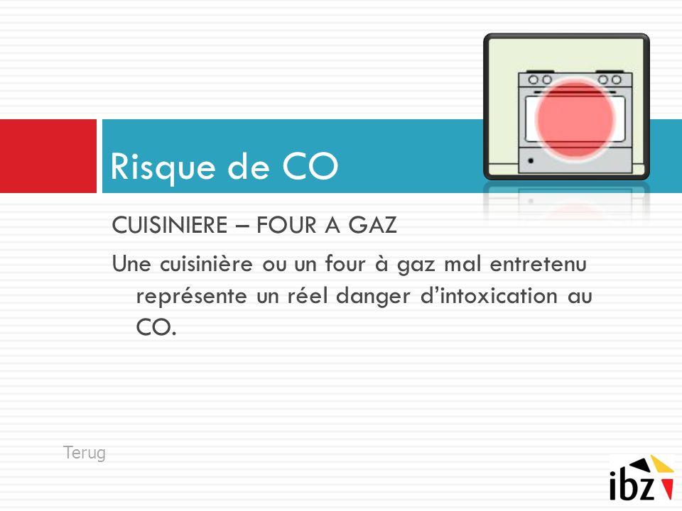 CUISINIERE – FOUR A GAZ Une cuisinière ou un four à gaz mal entretenu représente un réel danger d'intoxication au CO. Risque de CO Terug