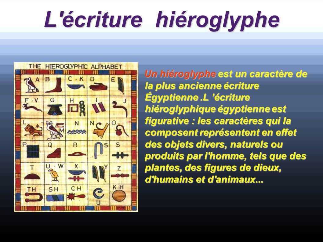 L écriture hiéroglyphe Un hiéroglyphe est un caractère de la plus ancienne écriture Égyptienne.L 'écriture hiéroglyphique égyptienne est figurative : les caractères qui la composent représentent en effet des objets divers, naturels ou produits par l homme, tels que des plantes, des figures de dieux, d humains et d animaux...