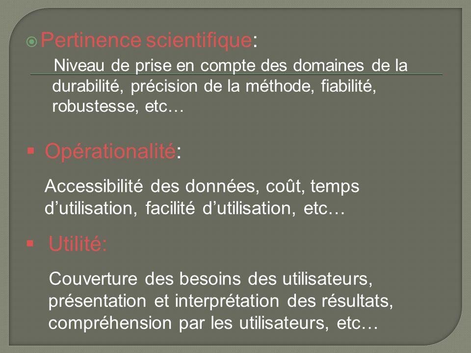  Pertinence scientifique: Niveau de prise en compte des domaines de la durabilité, précision de la méthode, fiabilité, robustesse, etc…  Opérational