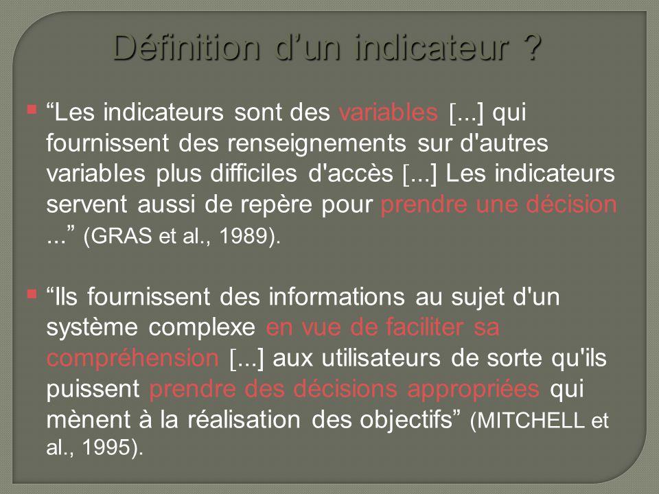  il correspond à une vision synthétique du système => simplification de l'information  il est un compromis entre les résultats scientifiques et la demande d'information conçise Caractéristiques de l'indicateur  il permet la prise de décision  c'est une variable (valeur statistique, mesure, etc…) qui est positionnée par-rapport à une référence
