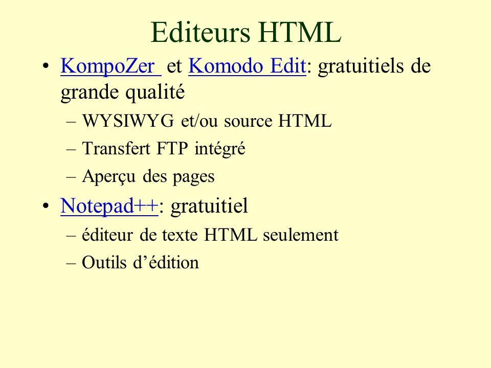 Editeurs HTML KompoZer et Komodo Edit: gratuitiels de grande qualitéKompoZer Komodo Edit –WYSIWYG et/ou source HTML –Transfert FTP intégré –Aperçu des pages Notepad++: gratuitielNotepad++ –éditeur de texte HTML seulement –Outils d'édition
