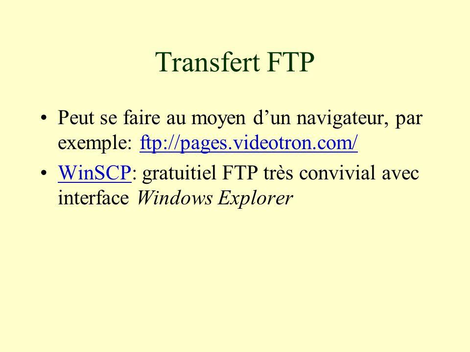 Transfert FTP Peut se faire au moyen d'un navigateur, par exemple: ftp://pages.videotron.com/ftp://pages.videotron.com/ WinSCP: gratuitiel FTP très convivial avec interface Windows ExplorerWinSCP
