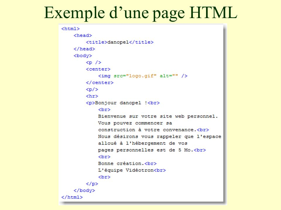 Exemple d'une page HTML