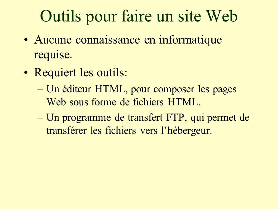 Outils pour faire un site Web Aucune connaissance en informatique requise.