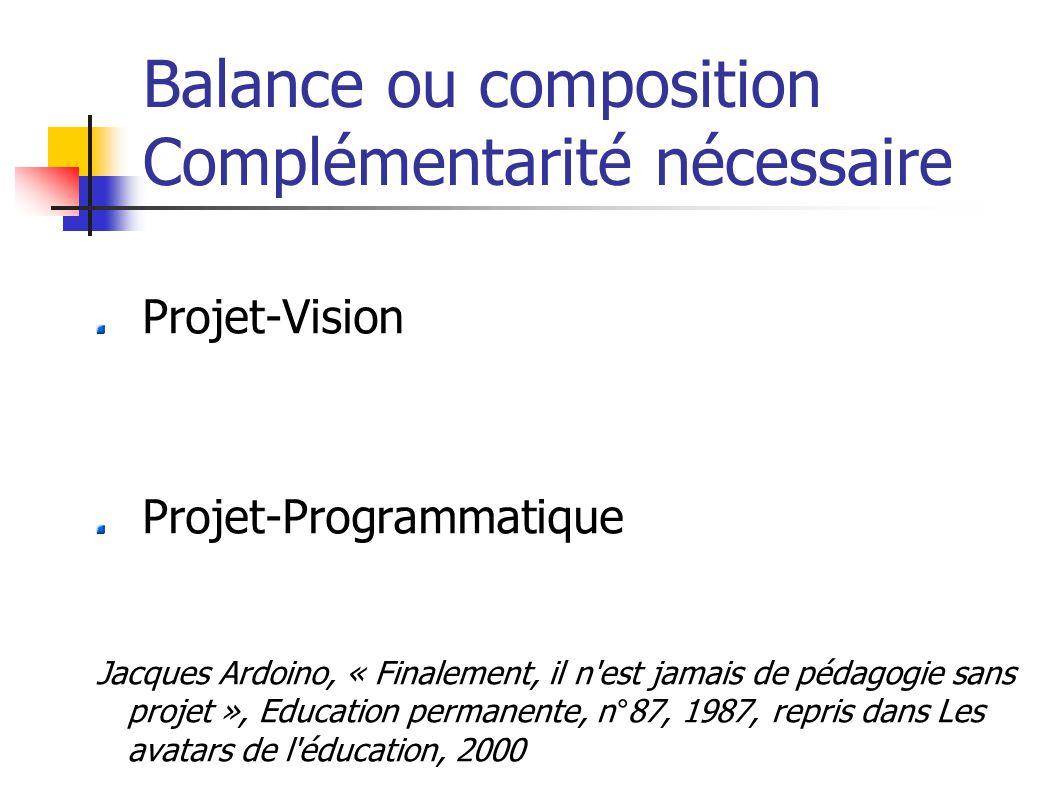 Balance ou composition Complémentarité nécessaire Projet-Vision Projet-Programmatique Jacques Ardoino, « Finalement, il n est jamais de pédagogie sans projet », Education permanente, n°87, 1987, repris dans Les avatars de l éducation, 2000