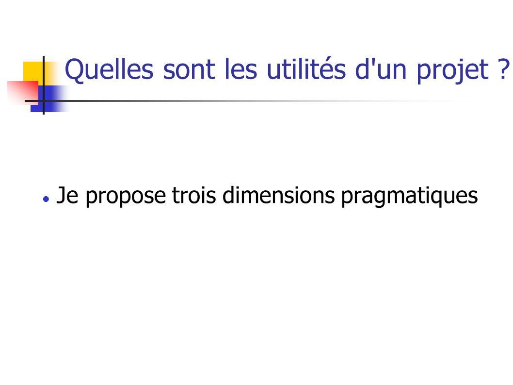 Quelles sont les utilités d un projet Je propose trois dimensions pragmatiques