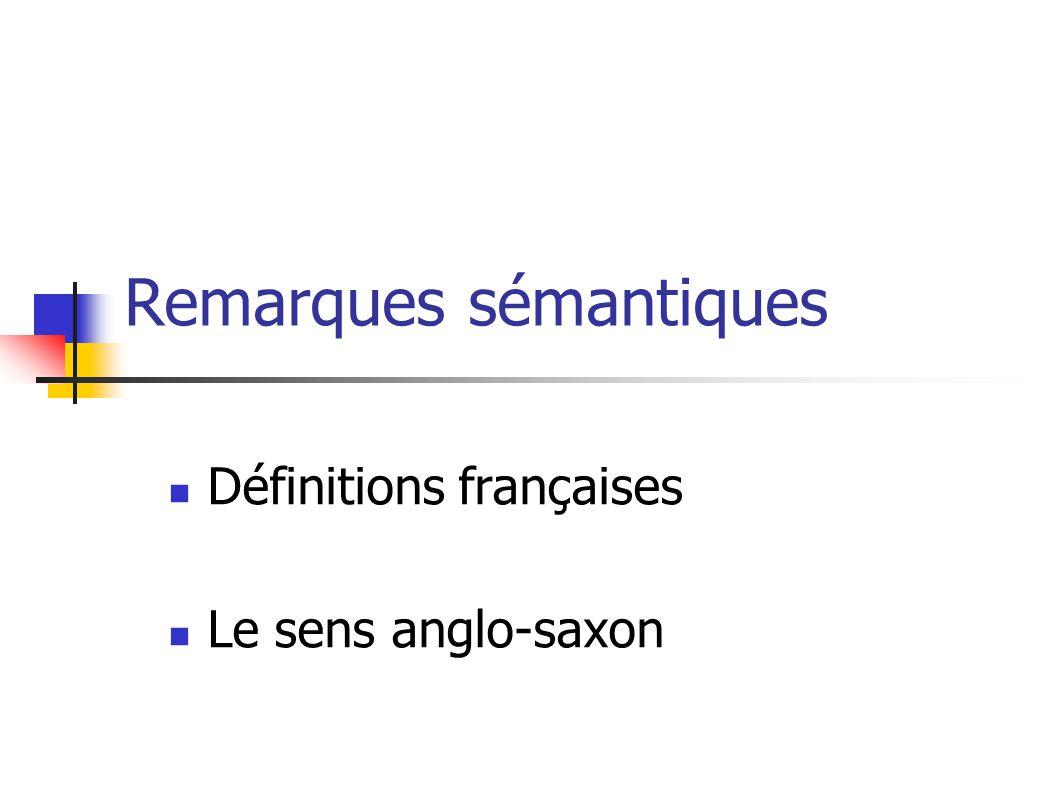Remarques sémantiques Définitions françaises Le sens anglo-saxon
