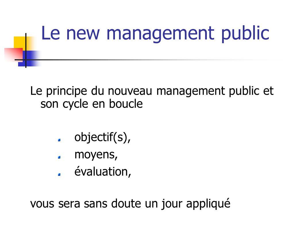Le new management public Le principe du nouveau management public et son cycle en boucle objectif(s), moyens, évaluation, vous sera sans doute un jour appliqué