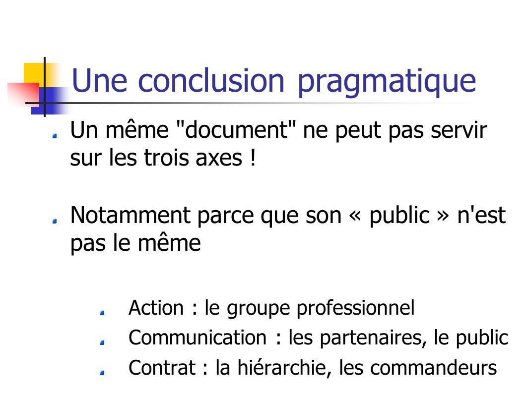 Une conclusion pragmatique Un même document ne peut pas servir sur les trois axes .