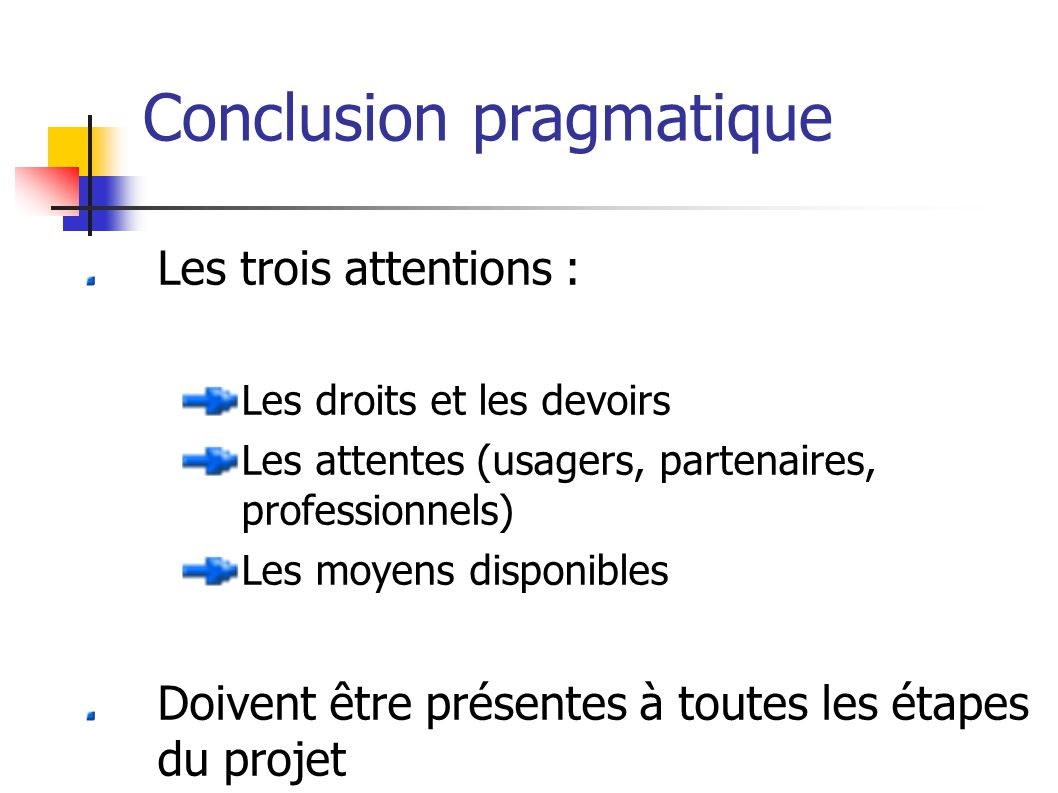Conclusion pragmatique Les trois attentions : Les droits et les devoirs Les attentes (usagers, partenaires, professionnels) Les moyens disponibles Doivent être présentes à toutes les étapes du projet