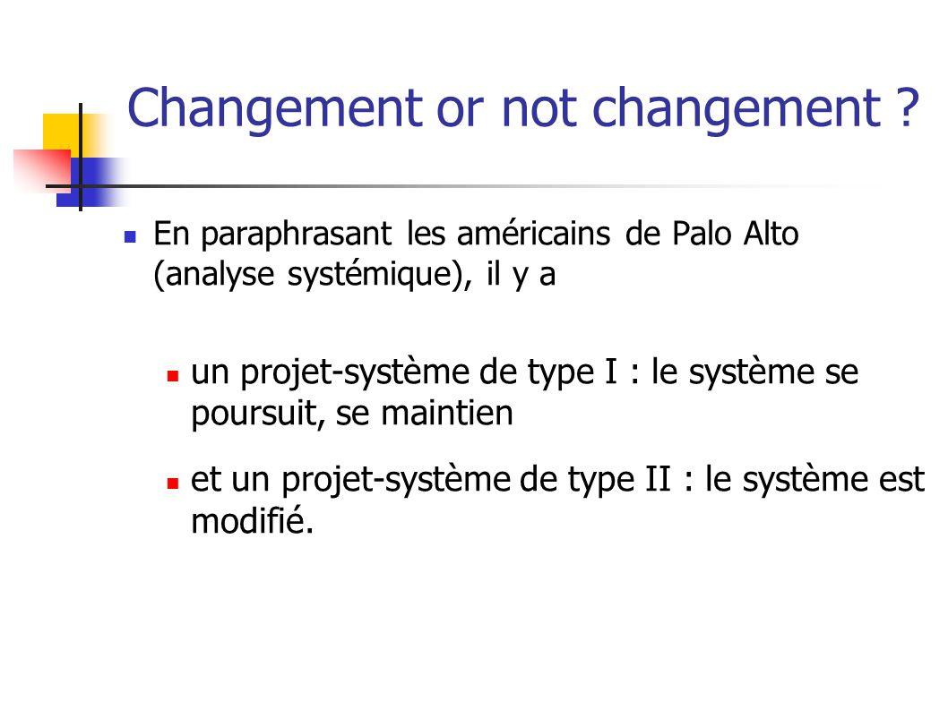 Changement or not changement .