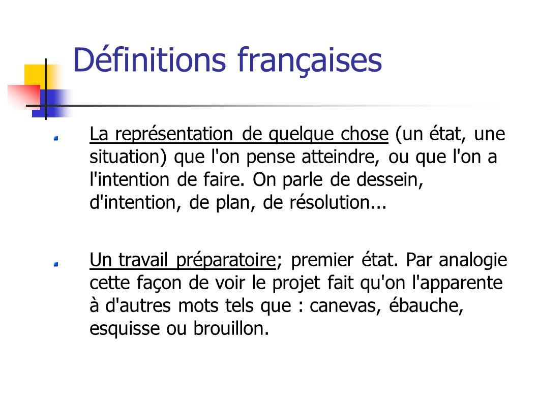 Définitions françaises La représentation de quelque chose (un état, une situation) que l on pense atteindre, ou que l on a l intention de faire.