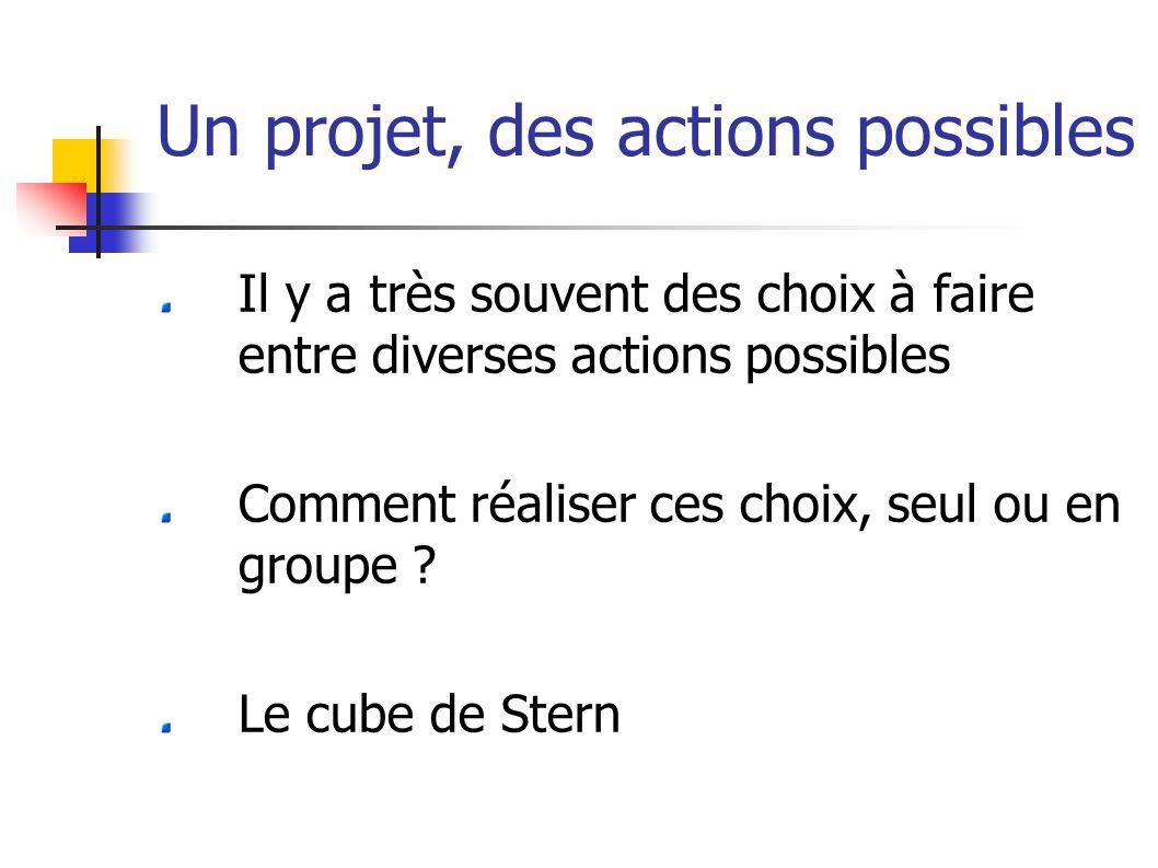 Un projet, des actions possibles Il y a très souvent des choix à faire entre diverses actions possibles Comment réaliser ces choix, seul ou en groupe .