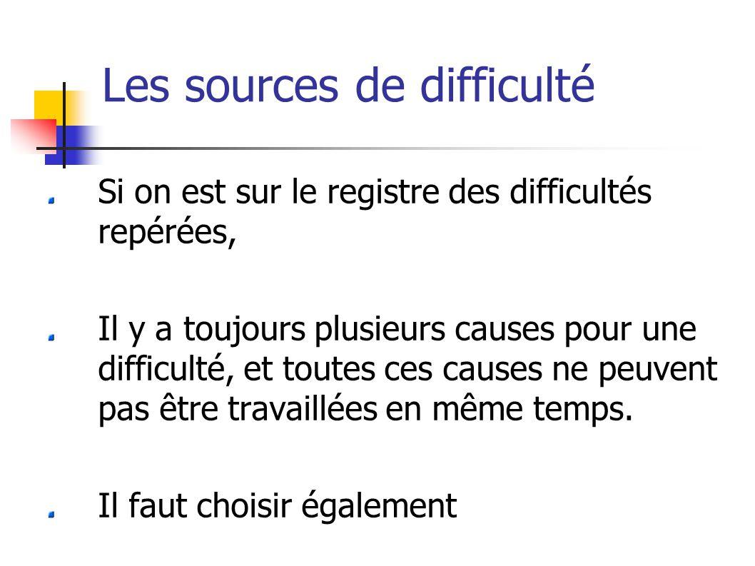 Les sources de difficulté Si on est sur le registre des difficultés repérées, Il y a toujours plusieurs causes pour une difficulté, et toutes ces causes ne peuvent pas être travaillées en même temps.