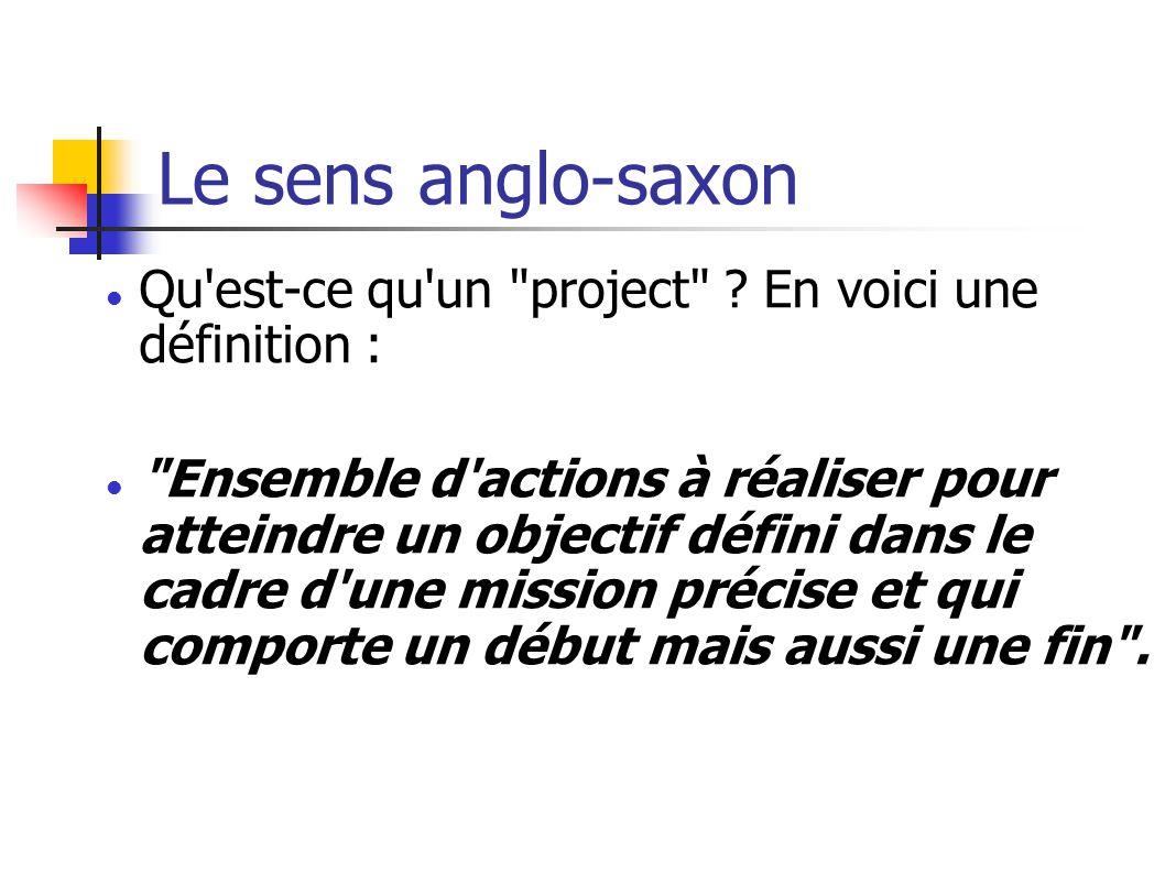 Le sens anglo-saxon Qu est-ce qu un project .
