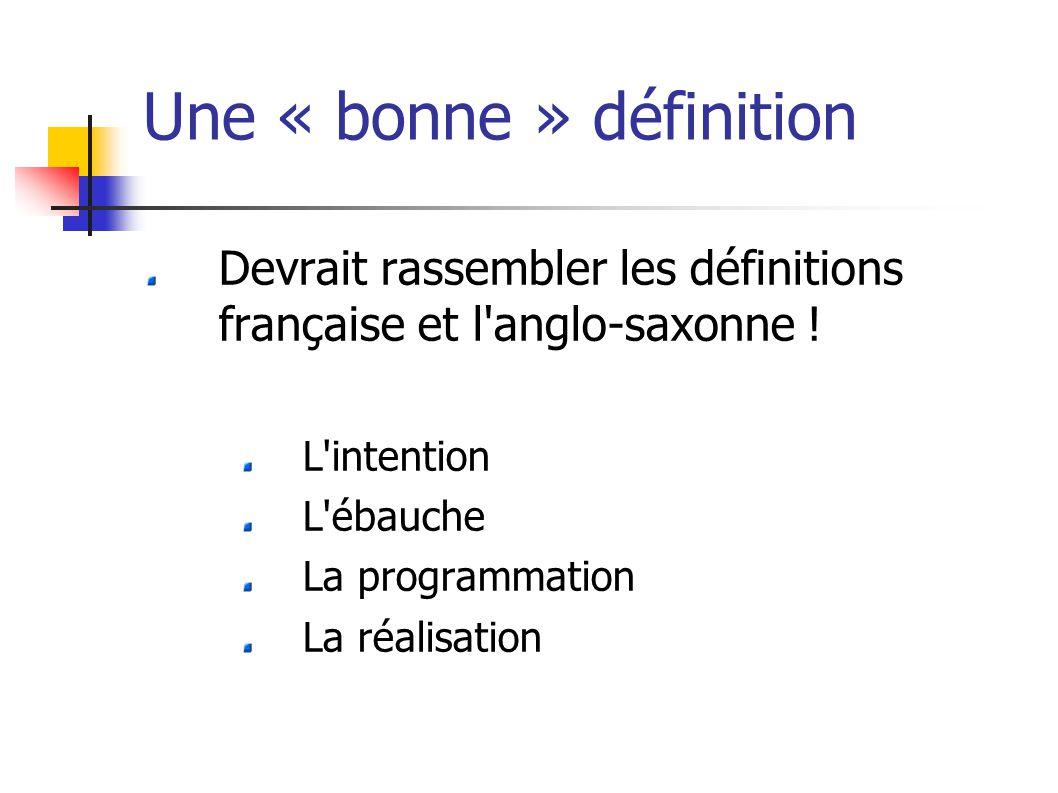 Une « bonne » définition Devrait rassembler les définitions française et l anglo-saxonne .