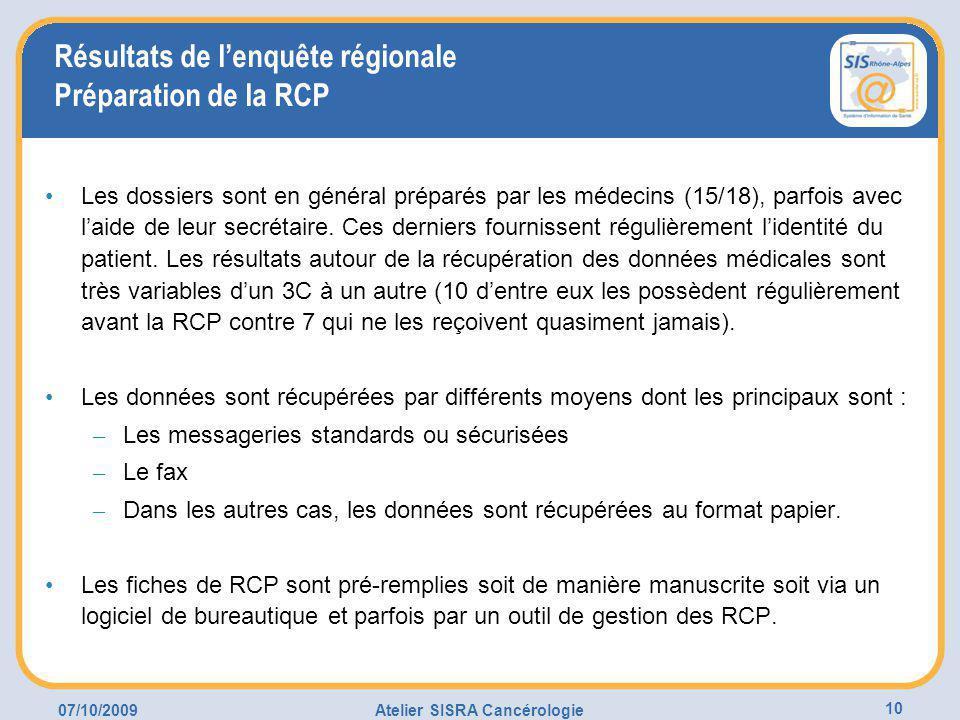 07/10/2009Atelier SISRA Cancérologie 10 Résultats de l'enquête régionale Préparation de la RCP Les dossiers sont en général préparés par les médecins (15/18), parfois avec l'aide de leur secrétaire.