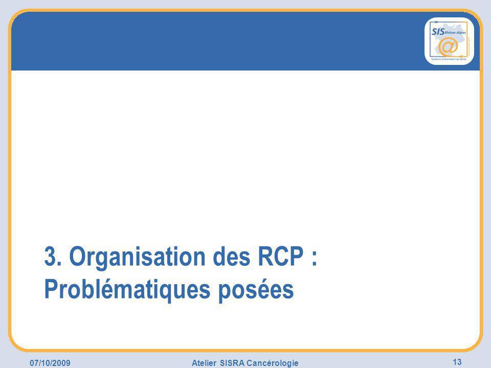 07/10/2009Atelier SISRA Cancérologie 13 3. Organisation des RCP : Problématiques posées