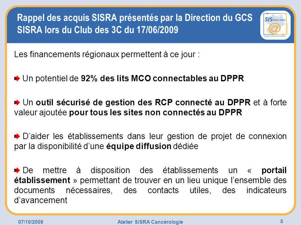 07/10/2009Atelier SISRA Cancérologie 5 Rappel des acquis SISRA présentés par la Direction du GCS SISRA lors du Club des 3C du 17/06/2009 Les financements régionaux permettent à ce jour : Un potentiel de 92% des lits MCO connectables au DPPR Un outil sécurisé de gestion des RCP connecté au DPPR et à forte valeur ajoutée pour tous les sites non connectés au DPPR D'aider les établissements dans leur gestion de projet de connexion par la disponibilité d'une équipe diffusion dédiée De mettre à disposition des établissements un « portail établissement » permettant de trouver en un lieu unique l'ensemble des documents nécessaires, des contacts utiles, des indicateurs d'avancement