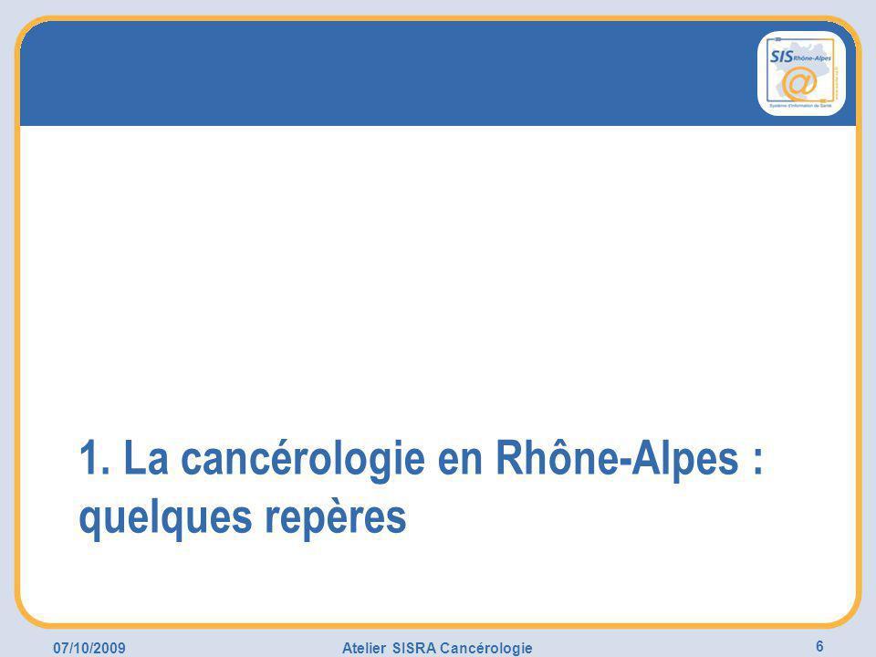07/10/2009Atelier SISRA Cancérologie 6 1. La cancérologie en Rhône-Alpes : quelques repères