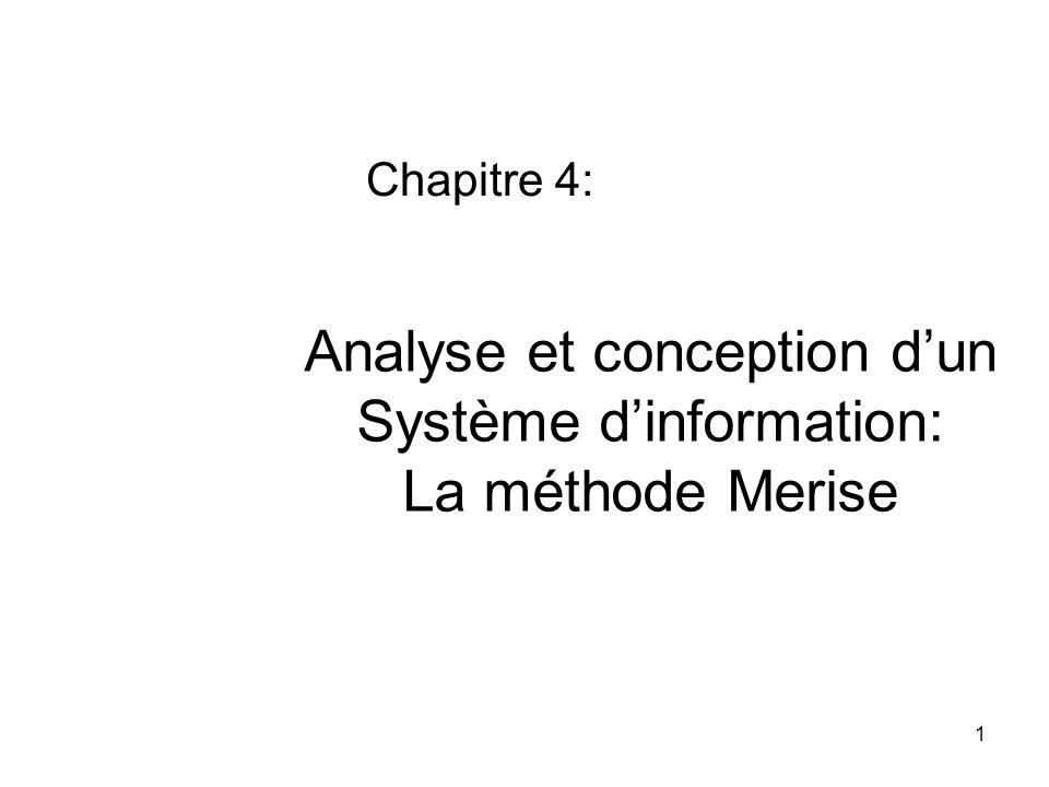 Analyse et conception d'un Système d'information: La méthode Merise Chapitre 4: 1