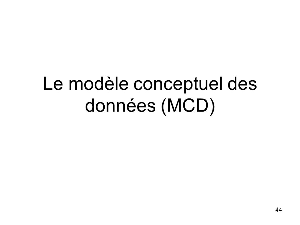 Le modèle conceptuel des données (MCD) 44