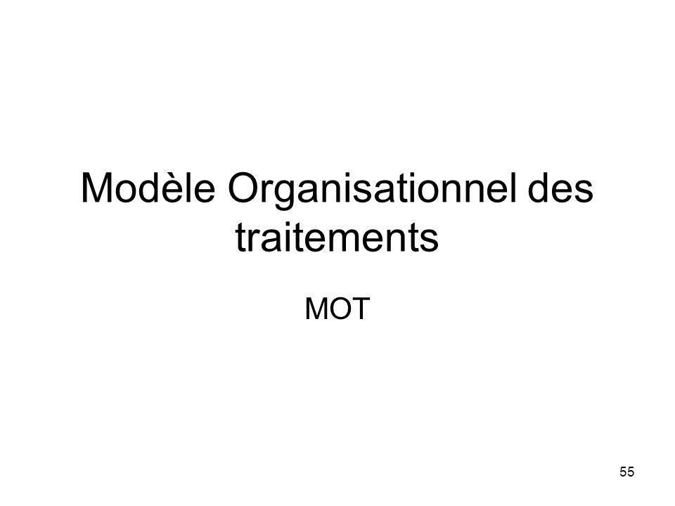 Modèle Organisationnel des traitements MOT 55