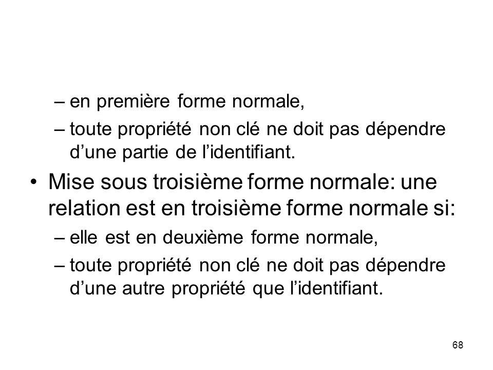 –en première forme normale, –toute propriété non clé ne doit pas dépendre d'une partie de l'identifiant.