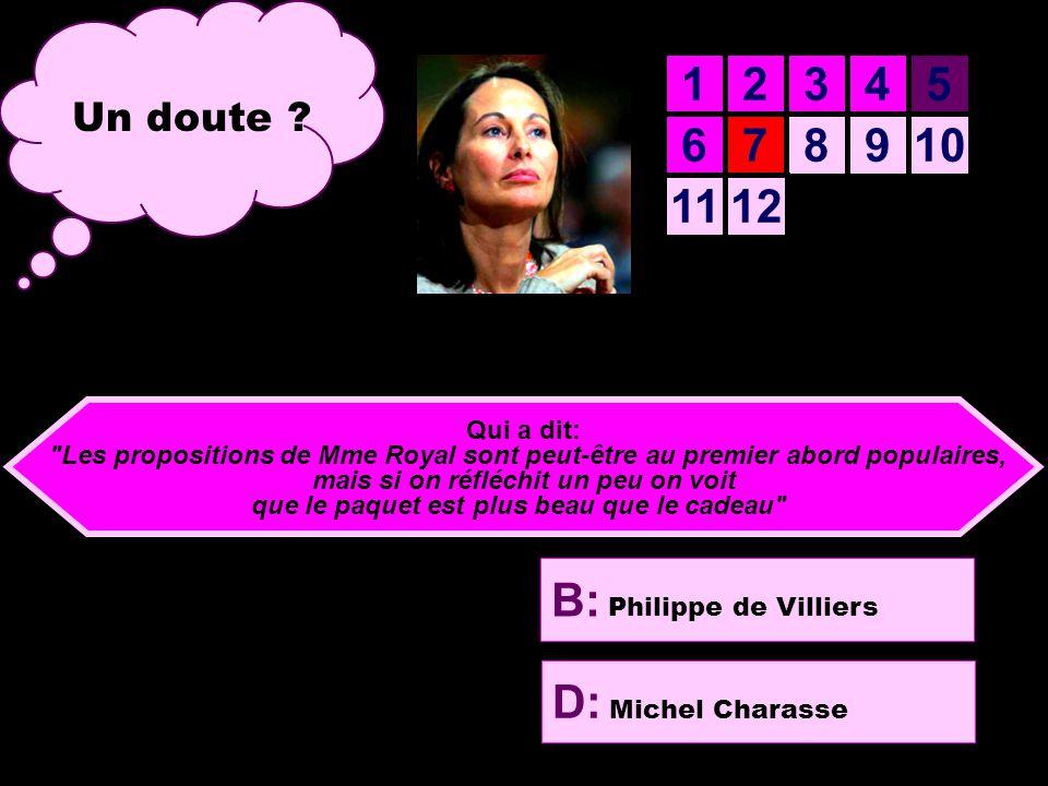 A: Henri Emmanuelli B: Philippe de Villiers C: Jacques Chirac D: Michel Charasse 12345 678910 1112 Prêt pour la septième question .