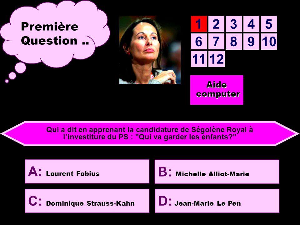 12345 678910 1112 Aide computer computer Première Question..