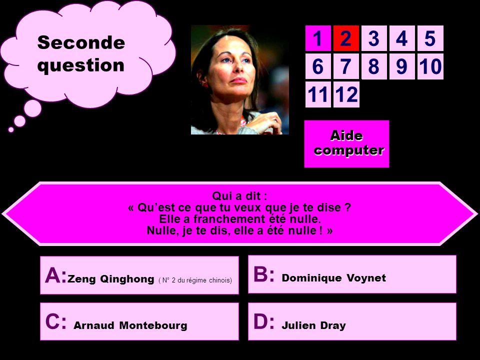12345 678910 1112 D: L'abbé Pierre C: Dominique Strauss-Kahn Pas facile..