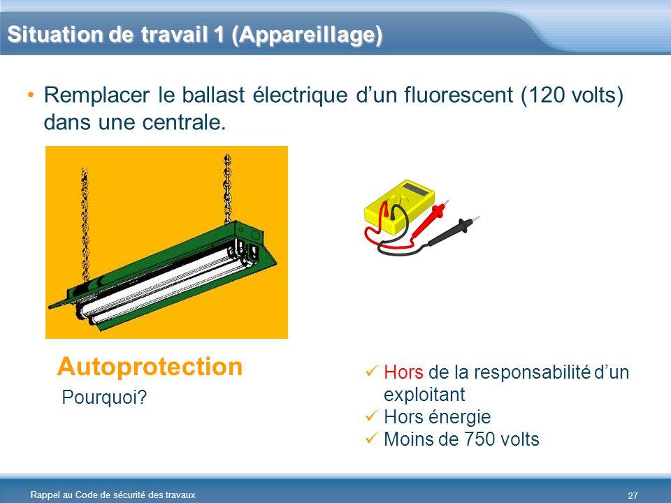 Rappel au Code de sécurité des travaux Situation de travail 1 (Appareillage) Remplacer le ballast électrique d'un fluorescent (120 volts) dans une cen