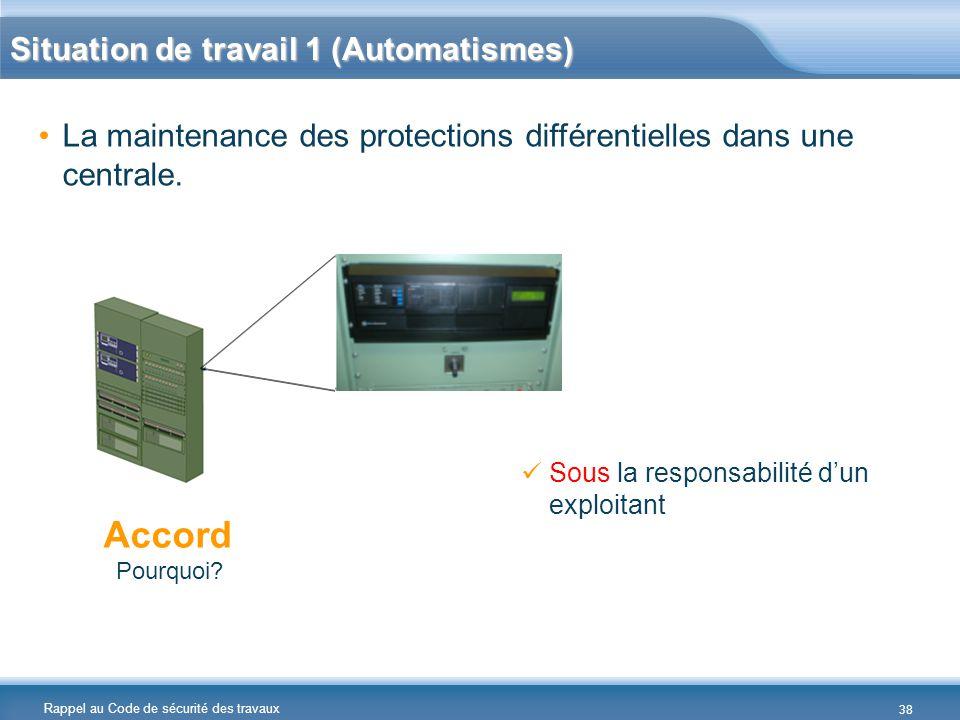 Rappel au Code de sécurité des travaux La maintenance des protections différentielles dans une centrale. Accord Pourquoi? Sous la responsabilité d'un